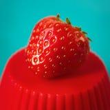 Köstlicher Erdbeerabschluß oben Stockfoto