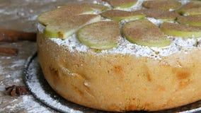 Köstlicher frisch gebackener üppiger Apfelkuchen Charlotte pulverisiert mit Zimt Traditioneller selbst gemachter Apfelkuchen stock video footage