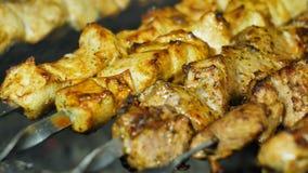 Köstlicher gegrillter Fleischkebab von Schweinefleisch und von Rindfleisch auf Feuer stock footage