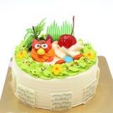 Köstlicher Kuchen mit alles Gute zum Geburtstag, lokalisiert auf weißem Hintergrund Stockfotografie