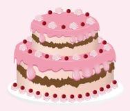 Köstlicher Kuchenvektor eingestellt auf rosa Hintergrund Stockfoto