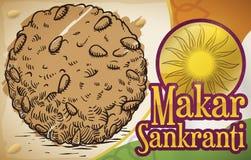 Köstlicher Laddu-abgehobener Betrag und Indien-Flagge für Festival Makar Sankranti, Vektor-Illustration stock abbildung
