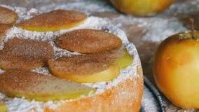 Köstlicher Lebkuchenapfelkuchen Charlotte Traditioneller Zimt und Apfelkuchen pulverisierten reich Puderzucker stock video footage