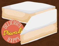 Köstlicher Nachtisch Kaju Katari über Paisley für Diwali-Feier, Vektor-Illustration Lizenzfreies Stockbild