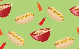 Köstlicher nahtloser Rüttler der Hotdog- und Ramennudel Stock Abbildung