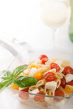 Köstlicher Nudelsalat mit frischen mozarella und Kirschtomaten, Basilikum Lizenzfreies Stockfoto