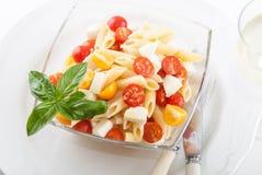 Köstlicher Nudelsalat mit frischen mozarella und Kirschtomaten, Basilikum Stockbild