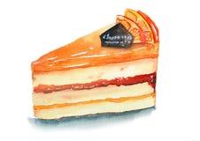 Köstlicher orange Kuchen mit cholate und orange Belag Stockbild