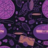 Köstlicher roher Kuchen des strengen Vegetariers der Lebensmittelsammlung Blaubeermit nahtlosem Muster des schwarzen Hintergrunde Lizenzfreie Stockbilder