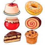 Köstlicher Satz Nachtische - Käsekuchen, Stau, kleiner Kuchen, Donut, Schweizer Rolle Stockfotografie
