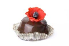 Köstlicher Schokoladenkuchen auf dem weißen Hintergrund Stockfotos