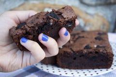 Köstlicher Schokoladenkuchen mit Keksen Stockbild