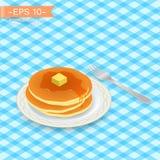 Köstlicher Stapel heiße Pfannkuchen mit süßem Honig, Ahornsirup auf einer Platte mit Gabel Stockbild