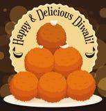 Köstlicher Stapel von Laddus-Nachtisch für Diwali-Feier, Vektor-Illustration Lizenzfreie Stockfotos
