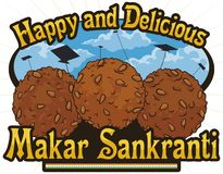 Köstlicher Til Laddu Desserts bereit zu Feier Inder Makar Sankranti, Vektor-Illustration vektor abbildung