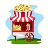 Köstlicher und heller Popcornshop mit einem Papierglas Popcorn auf dem Dach Lizenzfreie Stockbilder