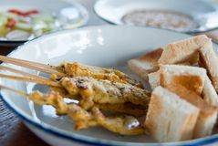 Köstliches asiatisches Kücheschwein Satay Stockbild