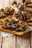 Köstliches ciabatta mit gebratener porcini Pilz-, Zwiebel-, Thymian- und Parmesankäseparmesankäsenahaufnahme vertikal lizenzfreies stockfoto