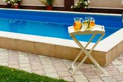 Köstliches Cocktail in den Krügen auf dem Hintergrund des Pools, allgemeiner Plan Stockbilder