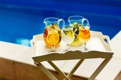 Köstliches Cocktail in den Krügen auf dem Hintergrund des Pools, Nahaufnahme Stockbilder