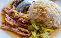 Köstliches frisches Schinkenschweinefleisch auf Reis Lizenzfreie Stockbilder
