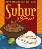 Köstliches Ful Medames mit Brot für Suhur, der während Ramadans, Vektor-Illustration Vor-fastet vektor abbildung