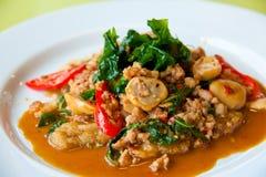 Köstliches gebratenes Schweinefleisch, Paprika, Gemüse Stockfotografie
