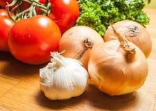 Köstliches gesundes Kochen mit Auberginentomatenknoblauch und -petersilie Lizenzfreie Stockfotos