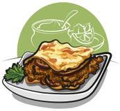 Köstliches griechisches moussaka mit Auberginen Lizenzfreie Stockfotos