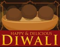 Köstliches Gulab Jamun im Sirup auf Schüssel für Diwali-Feier, Vektor-Illustration Stockfotografie