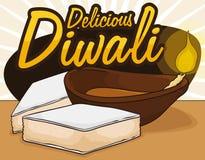 Köstliches Kaju Katli und ein Diya, zum von einem süßen Diwali, Vektor-Illustration zu feiern Lizenzfreies Stockfoto
