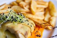Köstliches Krombacher-Lendenstück mit Fried Potatoes- und Zwiebel-Sprösslingen lizenzfreies stockfoto