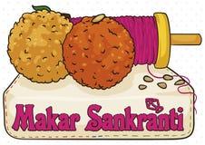 Köstliches Laddus und Spule in einem Stoff für Makar Sankranti, Vektor-Illustration lizenzfreie abbildung