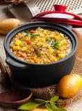 Köstliches Linsen- und Gemüseeintopfgericht stockfoto