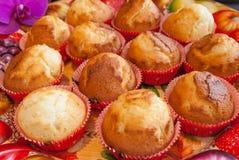 Köstliches Muffin backt auf buntem Behälter zusammen Stockbilder