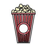 Köstliches Popcornsnack-food des Gekritzels im Kasten stock abbildung