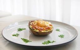 Köstliches Rezept zum das Frühstück von Avocados lizenzfreie stockfotos
