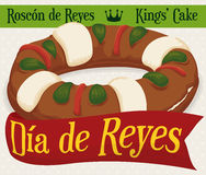 Köstliches ` ` Roscon de Reyes mit Gruß-Band für Offenbarungs-Feiertage, Vektor-Illustration Stockfoto