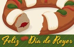 Köstliches Spanisch Tortell für Feier von drei Könige ` Tag, Vektor-Illustration Stockfotografie