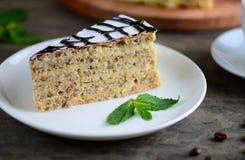 Köstliches Stück esterhazy Kuchen Torte Abschluss oben Stockfoto