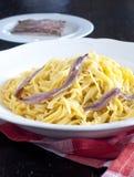 Köstliches tagliolini mit Butter und Sardellen Lizenzfreies Stockfoto