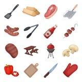 Kött, biff, vedträ, galler, tabell och annan tillbehör för grillfest BBQ ställde in samlingssymboler i tecknad filmstilvektor stock illustrationer
