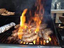 Kött för grillfest för BBQ-korvmat Royaltyfria Bilder
