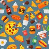 Kött för ostburgare för snabbmatsymbolsrestaurang smakligt och bakgrund för modell för sjuklig målvektorillustration sömlös royaltyfri illustrationer