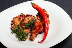Kött höna, chili Fotografering för Bildbyråer