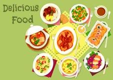 Kött- och fiskdisk med pasta- och veggiessymbolen Royaltyfri Foto