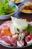 Kött och grönsak som är klara att grilla Royaltyfri Foto