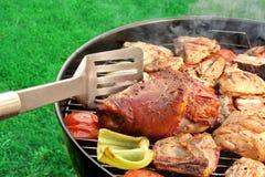 Kött och grönsaker för BBQ blandat på det varma flammande gallret Royaltyfri Bild