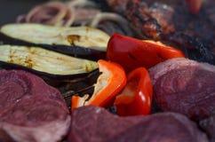 Kött och grönsaker på gallret, grillfestcloseup Royaltyfri Foto