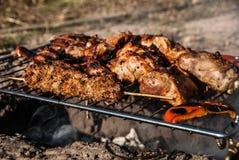 Kött och grönsaker som grillar på rastret, i rök royaltyfri bild